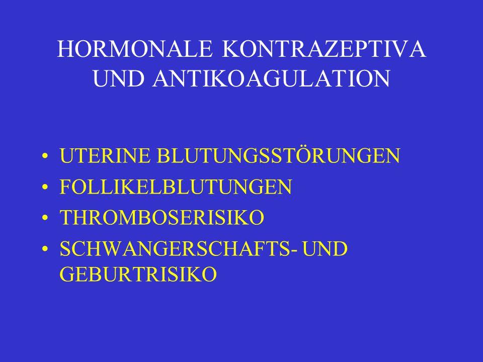 HORMONALE KONTRAZEPTIVA UND ANTIKOAGULATION UTERINE BLUTUNGSSTÖRUNGEN FOLLIKELBLUTUNGEN THROMBOSERISIKO SCHWANGERSCHAFTS- UND GEBURTRISIKO