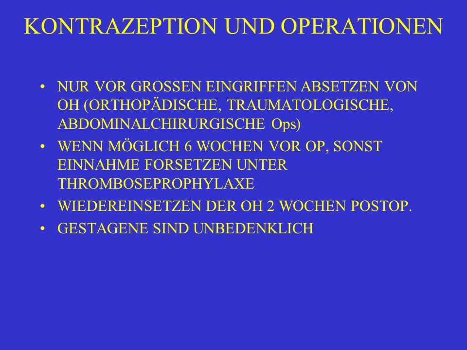 KONTRAZEPTION UND OPERATIONEN NUR VOR GROSSEN EINGRIFFEN ABSETZEN VON OH (ORTHOPÄDISCHE, TRAUMATOLOGISCHE, ABDOMINALCHIRURGISCHE Ops) WENN MÖGLICH 6 W