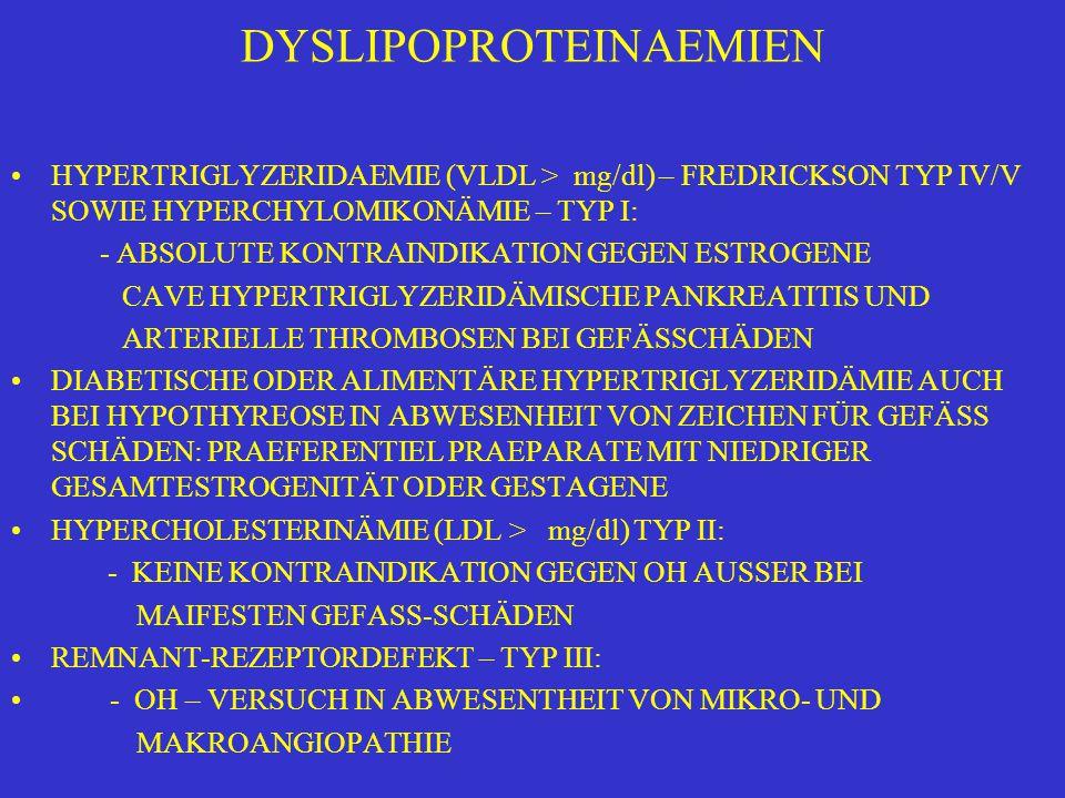 DYSLIPOPROTEINAEMIEN HYPERTRIGLYZERIDAEMIE (VLDL > mg/dl) – FREDRICKSON TYP IV/V SOWIE HYPERCHYLOMIKONÄMIE – TYP I: - ABSOLUTE KONTRAINDIKATION GEGEN ESTROGENE CAVE HYPERTRIGLYZERIDÄMISCHE PANKREATITIS UND ARTERIELLE THROMBOSEN BEI GEFÄSSCHÄDEN DIABETISCHE ODER ALIMENTÄRE HYPERTRIGLYZERIDÄMIE AUCH BEI HYPOTHYREOSE IN ABWESENHEIT VON ZEICHEN FÜR GEFÄSS SCHÄDEN: PRAEFERENTIEL PRAEPARATE MIT NIEDRIGER GESAMTESTROGENITÄT ODER GESTAGENE HYPERCHOLESTERINÄMIE (LDL > mg/dl) TYP II: - KEINE KONTRAINDIKATION GEGEN OH AUSSER BEI MAIFESTEN GEFASS-SCHÄDEN REMNANT-REZEPTORDEFEKT – TYP III: - OH – VERSUCH IN ABWESENTHEIT VON MIKRO- UND MAKROANGIOPATHIE