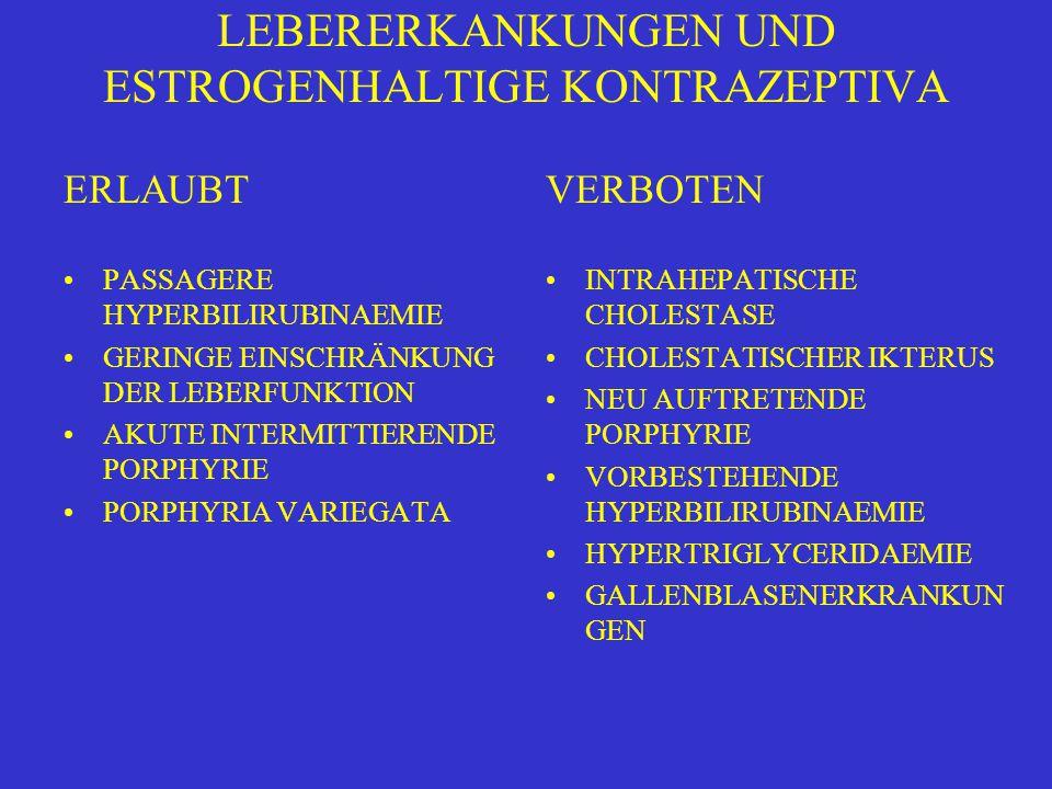 LEBERERKANKUNGEN UND ESTROGENHALTIGE KONTRAZEPTIVA ERLAUBT PASSAGERE HYPERBILIRUBINAEMIE GERINGE EINSCHRÄNKUNG DER LEBERFUNKTION AKUTE INTERMITTIERENDE PORPHYRIE PORPHYRIA VARIEGATA VERBOTEN INTRAHEPATISCHE CHOLESTASE CHOLESTATISCHER IKTERUS NEU AUFTRETENDE PORPHYRIE VORBESTEHENDE HYPERBILIRUBINAEMIE HYPERTRIGLYCERIDAEMIE GALLENBLASENERKRANKUN GEN