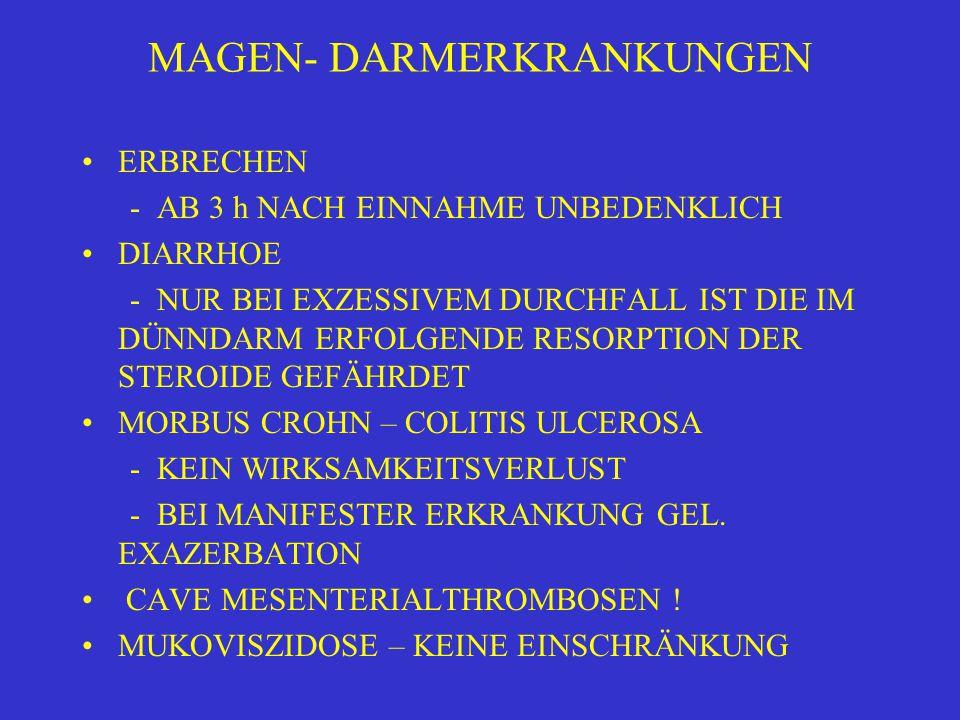 MAGEN- DARMERKRANKUNGEN ERBRECHEN - AB 3 h NACH EINNAHME UNBEDENKLICH DIARRHOE - NUR BEI EXZESSIVEM DURCHFALL IST DIE IM DÜNNDARM ERFOLGENDE RESORPTION DER STEROIDE GEFÄHRDET MORBUS CROHN – COLITIS ULCEROSA - KEIN WIRKSAMKEITSVERLUST - BEI MANIFESTER ERKRANKUNG GEL.