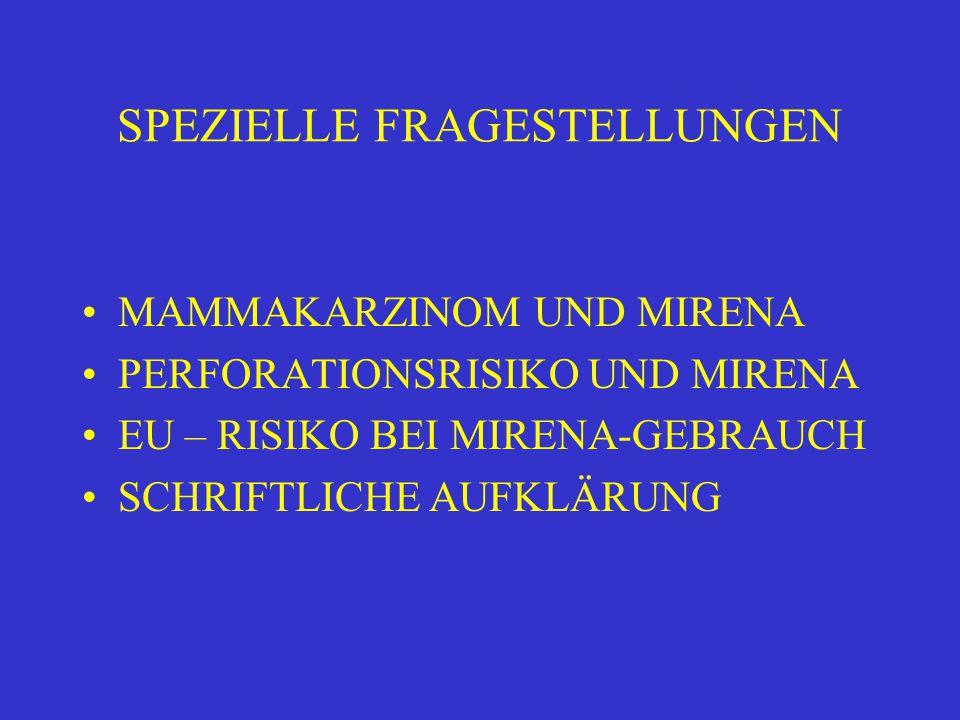 SPEZIELLE FRAGESTELLUNGEN MAMMAKARZINOM UND MIRENA PERFORATIONSRISIKO UND MIRENA EU – RISIKO BEI MIRENA-GEBRAUCH SCHRIFTLICHE AUFKLÄRUNG