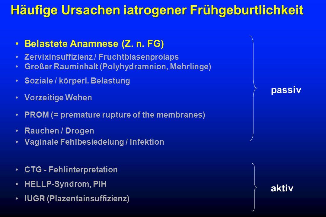 Häufige Ursachen iatrogener Frühgeburtlichkeit Belastete Anamnese (Z.