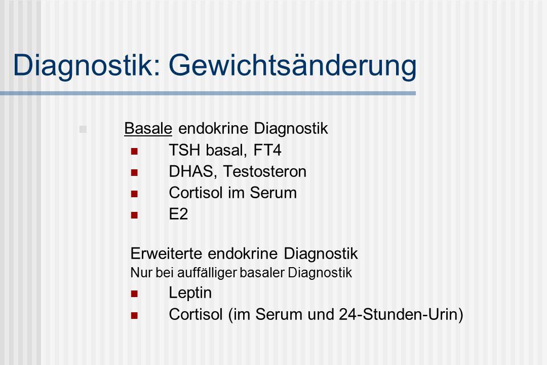 Diagnostik: Gewichtsänderung Basale endokrine Diagnostik TSH basal, FT4 DHAS, Testosteron Cortisol im Serum E2 Erweiterte endokrine Diagnostik Nur bei auffälliger basaler Diagnostik Leptin Cortisol (im Serum und 24-Stunden-Urin)