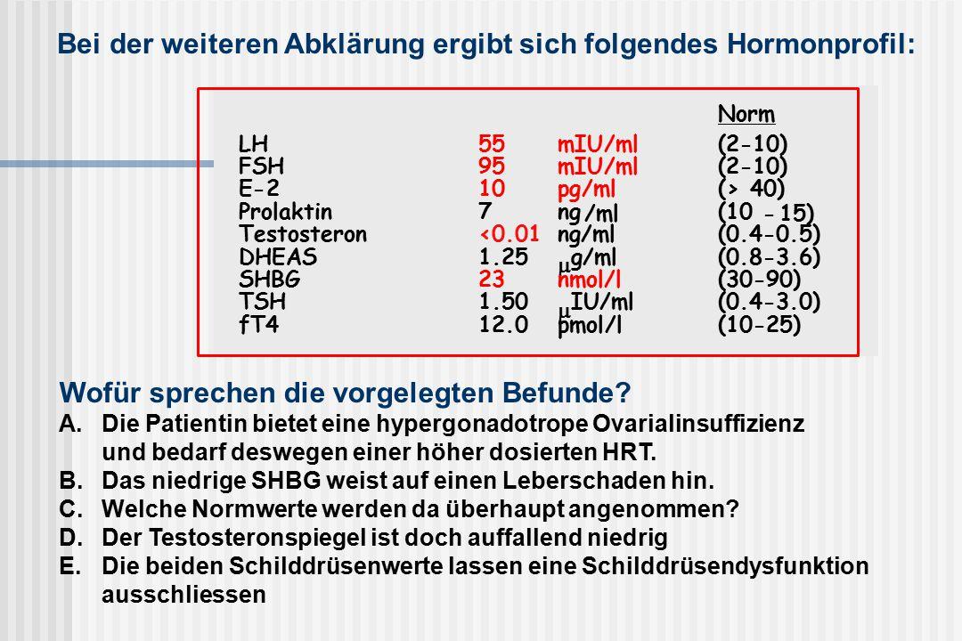 Norm LH55mIU/ml(2-10) FSH95mIU/ml(2-10) E-210pg/ml(> 40) Prolaktin7ng /ml (10 - 15) Testosteron<0.01ng/ml(0.4-0.5) DHEAS1.25  g/ml(0.8-3.6) SHBG23nmol/l(30-90) TSH1.50  IU/ml(0.4-3.0) fT412.0pmol/l(10-25) Wofür sprechen die vorgelegten Befunde.