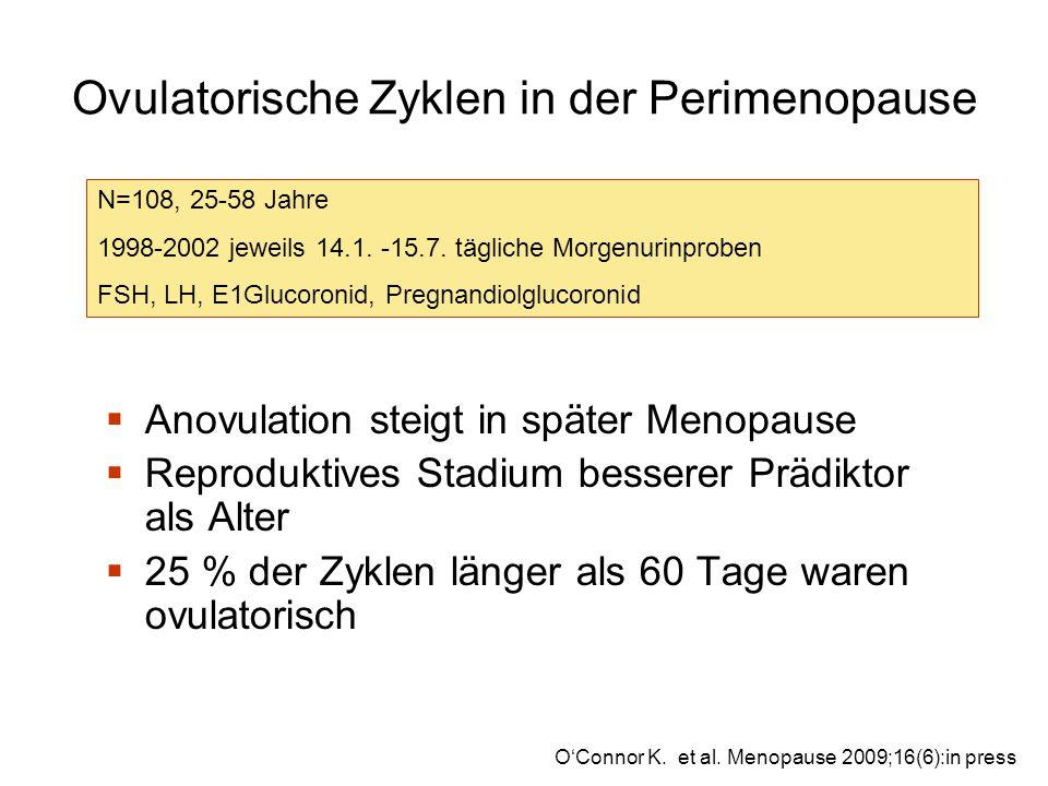Ovulatorische Zyklen in der Perimenopause  Anovulation steigt in später Menopause  Reproduktives Stadium besserer Prädiktor als Alter  25 % der Zyklen länger als 60 Tage waren ovulatorisch O'Connor K.