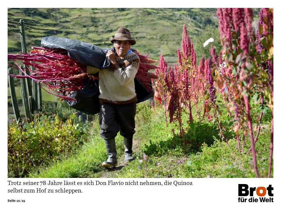 Seite 10/19 Trotz seiner 78 Jahre lässt es sich Don Flavio nicht nehmen, die Quinoa selbst zum Hof zu schleppen.