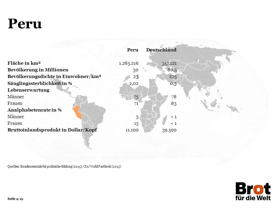 Seite 2/19 Peru PeruDeutschland Fläche in km²1.285.216357.121 Bevölkerung in Millionen 3080,5 Bevölkerungsdichte in Einwohner/km²23225 Säuglingssterbl