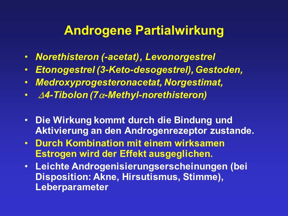 Androgene Partialwirkung Norethisteron (-acetat), Levonorgestrel Etonogestrel (3-Keto-desogestrel), Gestoden, Medroxyprogesteronacetat, Norgestimat, 
