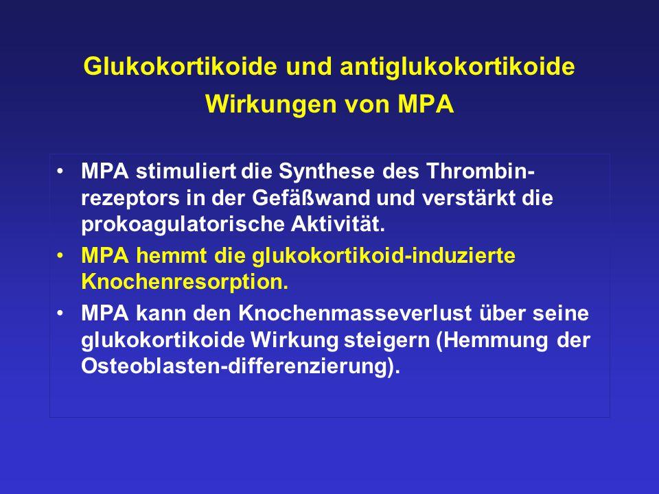 Glukokortikoide und antiglukokortikoide Wirkungen von MPA MPA stimuliert die Synthese des Thrombin- rezeptors in der Gefäßwand und verstärkt die proko
