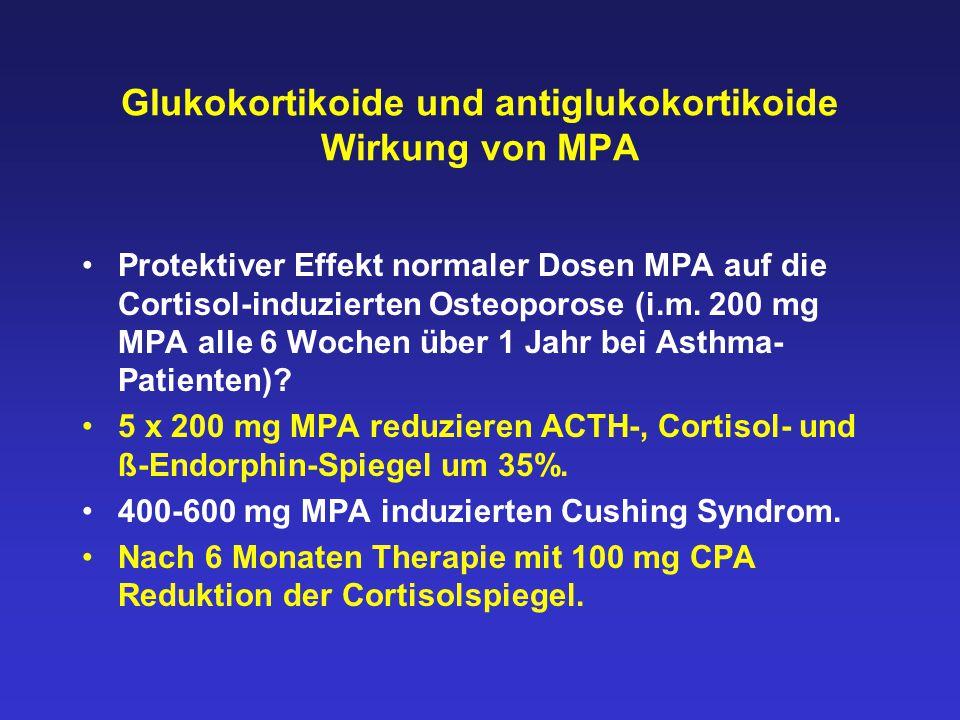 Glukokortikoide und antiglukokortikoide Wirkung von MPA Protektiver Effekt normaler Dosen MPA auf die Cortisol-induzierten Osteoporose (i.m. 200 mg MP