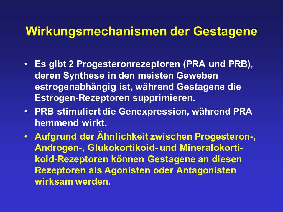 Wirkungsmechanismen der Gestagene Es gibt 2 Progesteronrezeptoren (PRA und PRB), deren Synthese in den meisten Geweben estrogenabhängig ist, während G