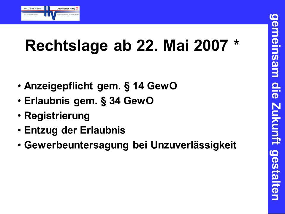 gemeinsam die Zukunft gestalten Rechtslage ab 22. Mai 2007 * Anzeigepflicht gem. § 14 GewO Erlaubnis gem. § 34 GewO Registrierung Entzug der Erlaubnis