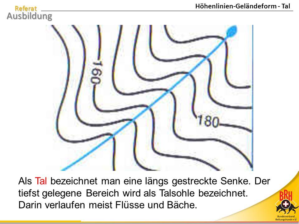 Referat Ausbildung 3 Als Tal bezeichnet man eine längs gestreckte Senke. Der tiefst gelegene Bereich wird als Talsohle bezeichnet. Darin verlaufen mei