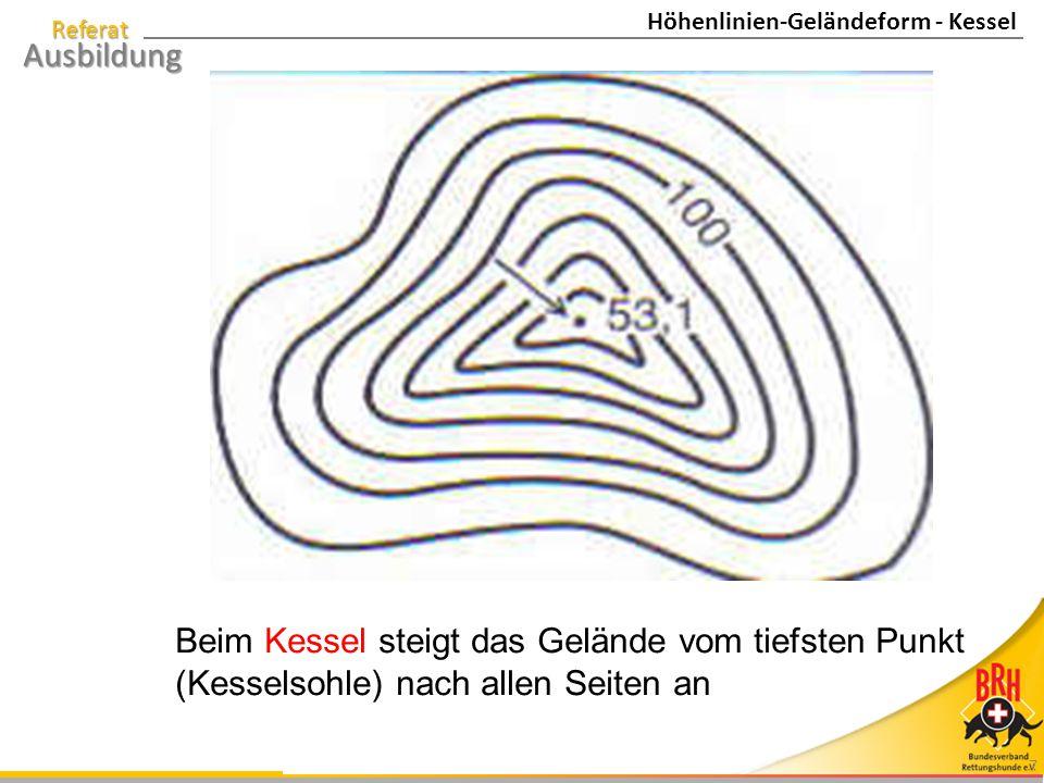 Referat Ausbildung 7 Beim Kessel steigt das Gelände vom tiefsten Punkt (Kesselsohle) nach allen Seiten an Höhenlinien-Geländeform - Kessel