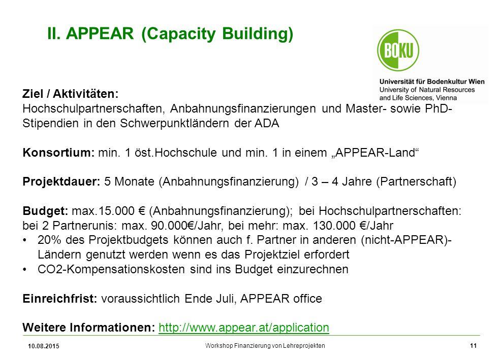 Workshop Finanzierung von Lehreprojekten 10.08.2015 11 II. APPEAR (Capacity Building) Ziel / Aktivitäten: Hochschulpartnerschaften, Anbahnungsfinanzie