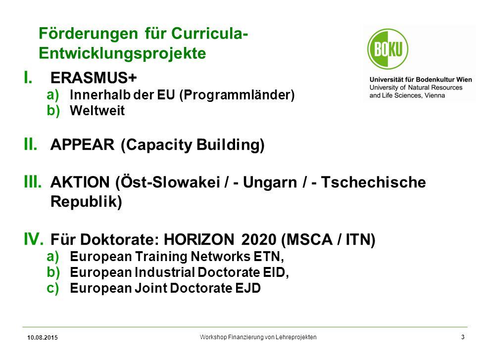 Workshop Finanzierung von Lehreprojekten Förderungen für Curricula- Entwicklungsprojekte I. ERASMUS+ a) Innerhalb der EU (Programmländer) b) Weltweit