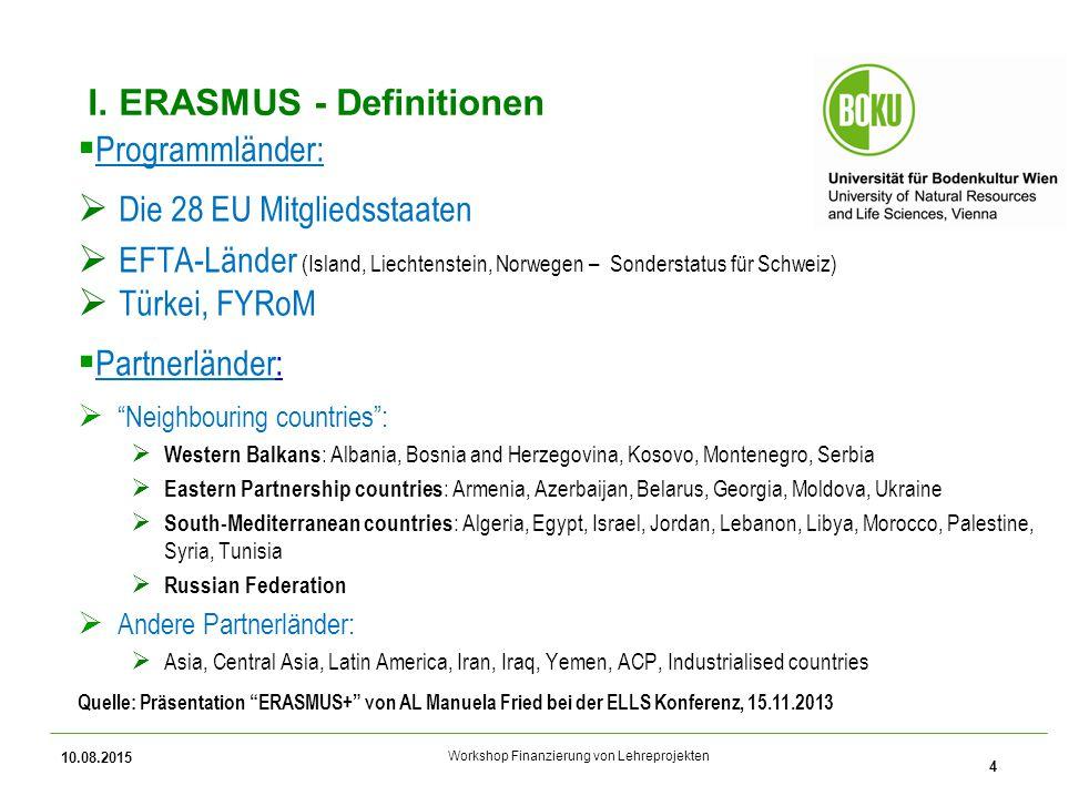 Workshop Finanzierung von Lehreprojekten I. ERASMUS - Definitionen  Programmländer:  Die 28 EU Mitgliedsstaaten  EFTA-Länder (Island, Liechtenstein
