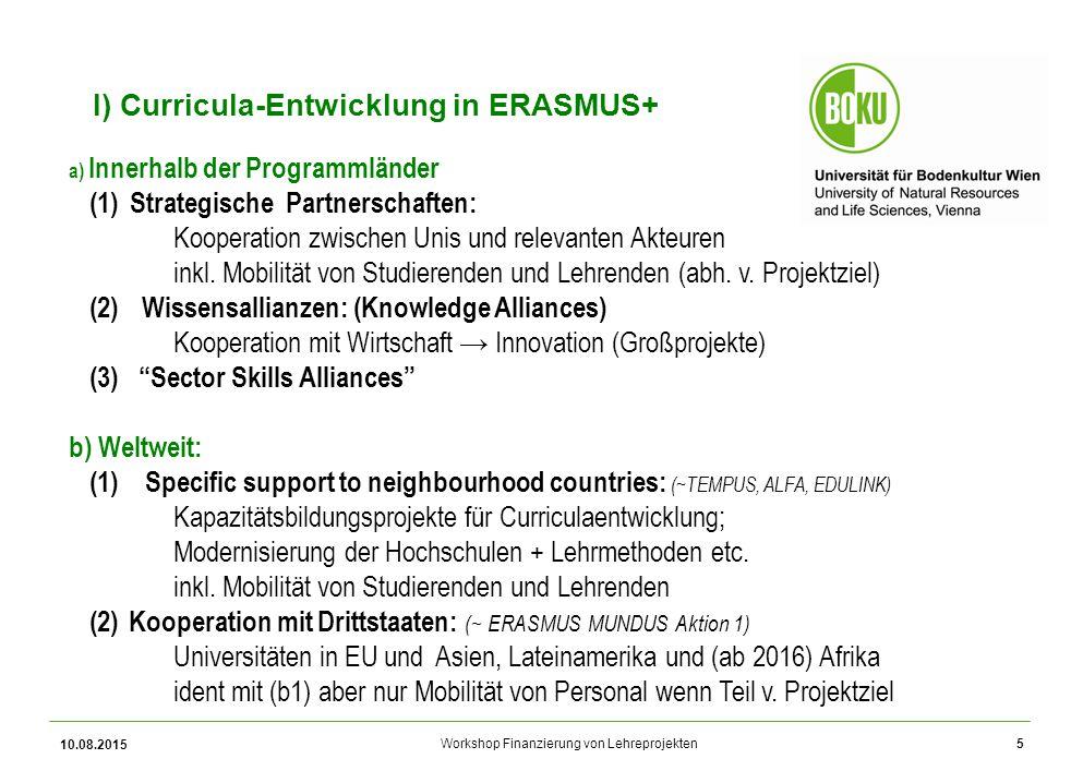 Workshop Finanzierung von Lehreprojekten 10.08.2015 5 I) Curricula-Entwicklung in ERASMUS+ a) Innerhalb der Programmländer (1)Strategische Partnerschaften: Kooperation zwischen Unis und relevanten Akteuren inkl.
