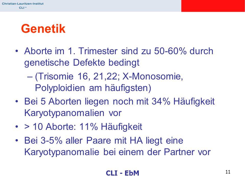 CLI - EbM 11 Genetik Aborte im 1. Trimester sind zu 50-60% durch genetische Defekte bedingt –(Trisomie 16, 21,22; X-Monosomie, Polyploidien am häufigs