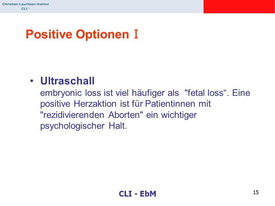 CLI - EbM 15 Positive Optionen I Ultraschall embryonic loss ist viel häufiger als