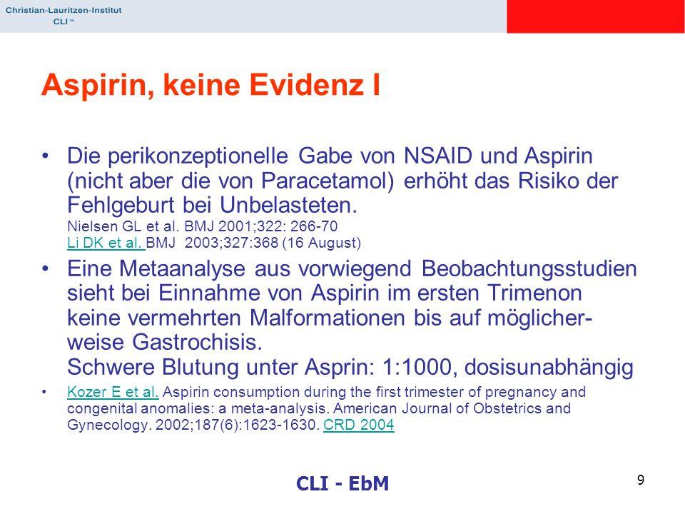 CLI - EbM 9 Aspirin, keine Evidenz I Die perikonzeptionelle Gabe von NSAID und Aspirin (nicht aber die von Paracetamol) erhöht das Risiko der Fehlgebu