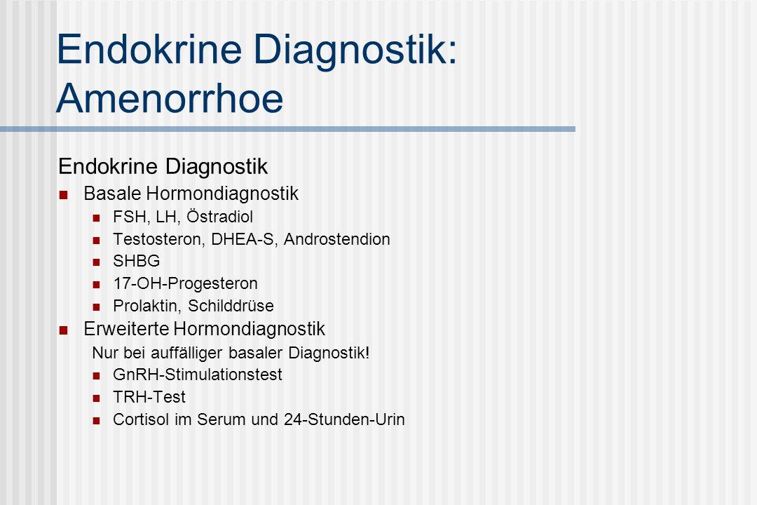 Endokrine Diagnostik: Amenorrhoe Endokrine Diagnostik Basale Hormondiagnostik FSH, LH, Östradiol Testosteron, DHEA-S, Androstendion SHBG 17-OH-Progesteron Prolaktin, Schilddrüse Erweiterte Hormondiagnostik Nur bei auffälliger basaler Diagnostik.