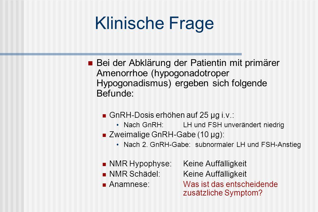 Leitsymptom Amenorrhoe Primäre Amenorrhoe Bei ungestörter Pubertätsentwick- lung keine Menses bis zum 16.