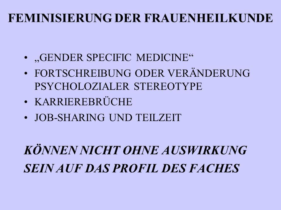 """FEMINISIERUNG DER FRAUENHEILKUNDE """"GENDER SPECIFIC MEDICINE FORTSCHREIBUNG ODER VERÄNDERUNG PSYCHOLOZIALER STEREOTYPE KARRIEREBRÜCHE JOB-SHARING UND TEILZEIT KÖNNEN NICHT OHNE AUSWIRKUNG SEIN AUF DAS PROFIL DES FACHES"""