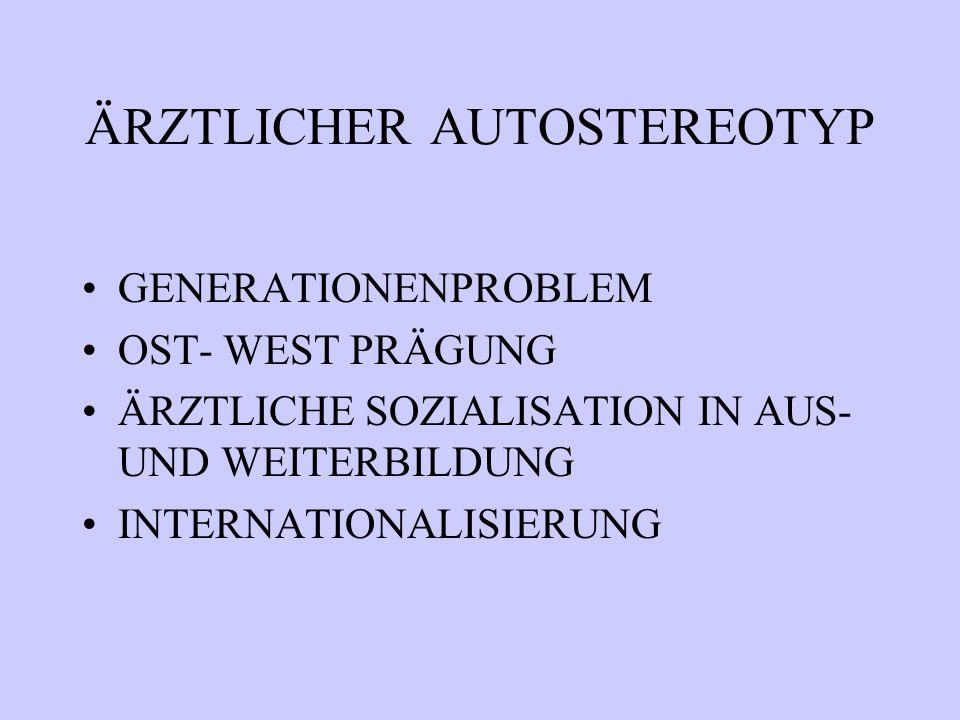 ÄRZTLICHER AUTOSTEREOTYP GENERATIONENPROBLEM OST- WEST PRÄGUNG ÄRZTLICHE SOZIALISATION IN AUS- UND WEITERBILDUNG INTERNATIONALISIERUNG