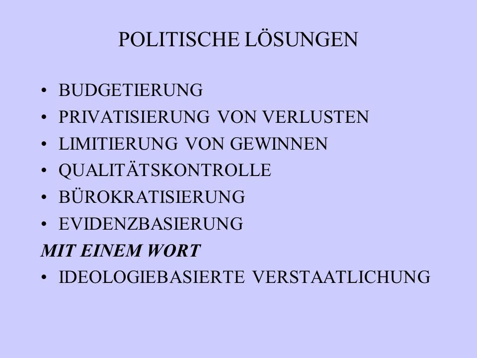 POLITISCHE LÖSUNGEN BUDGETIERUNG PRIVATISIERUNG VON VERLUSTEN LIMITIERUNG VON GEWINNEN QUALITÄTSKONTROLLE BÜROKRATISIERUNG EVIDENZBASIERUNG MIT EINEM