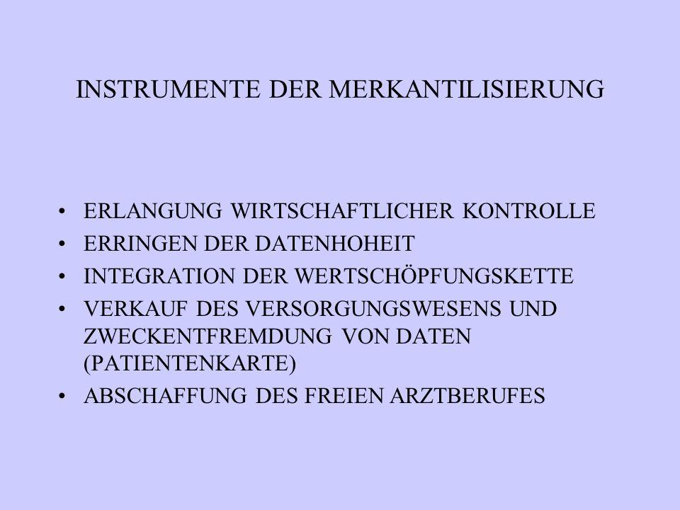 INSTRUMENTE DER MERKANTILISIERUNG ERLANGUNG WIRTSCHAFTLICHER KONTROLLE ERRINGEN DER DATENHOHEIT INTEGRATION DER WERTSCHÖPFUNGSKETTE VERKAUF DES VERSORGUNGSWESENS UND ZWECKENTFREMDUNG VON DATEN (PATIENTENKARTE) ABSCHAFFUNG DES FREIEN ARZTBERUFES