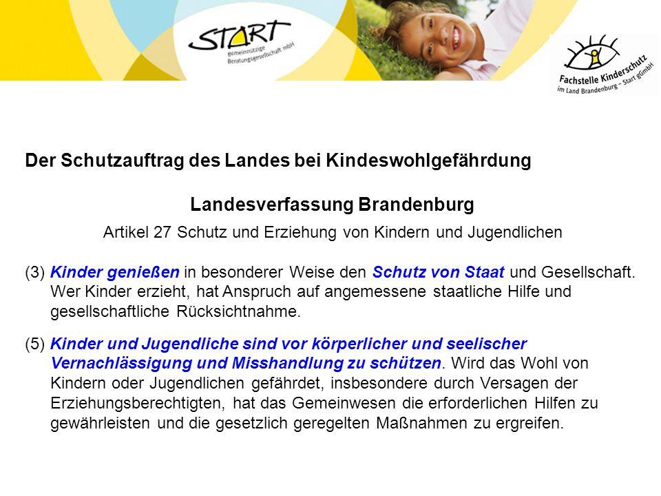 Der Schutzauftrag des Landes bei Kindeswohlgefährdung Landesverfassung Brandenburg Artikel 27 Schutz und Erziehung von Kindern und Jugendlichen (3) Ki