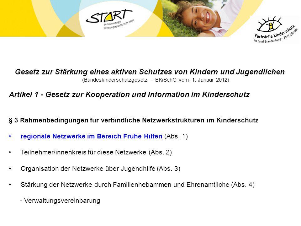 Gesetz zur Stärkung eines aktiven Schutzes von Kindern und Jugendlichen (Bundeskinderschutzgesetz – BKiSchG vom 1. Januar 2012) Artikel 1 - Gesetz zur