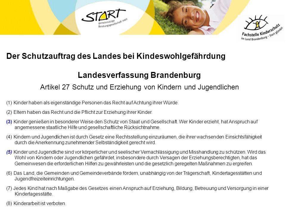 Der Schutzauftrag des Landes bei Kindeswohlgefährdung Landesverfassung Brandenburg Artikel 27 Schutz und Erziehung von Kindern und Jugendlichen (1) Ki