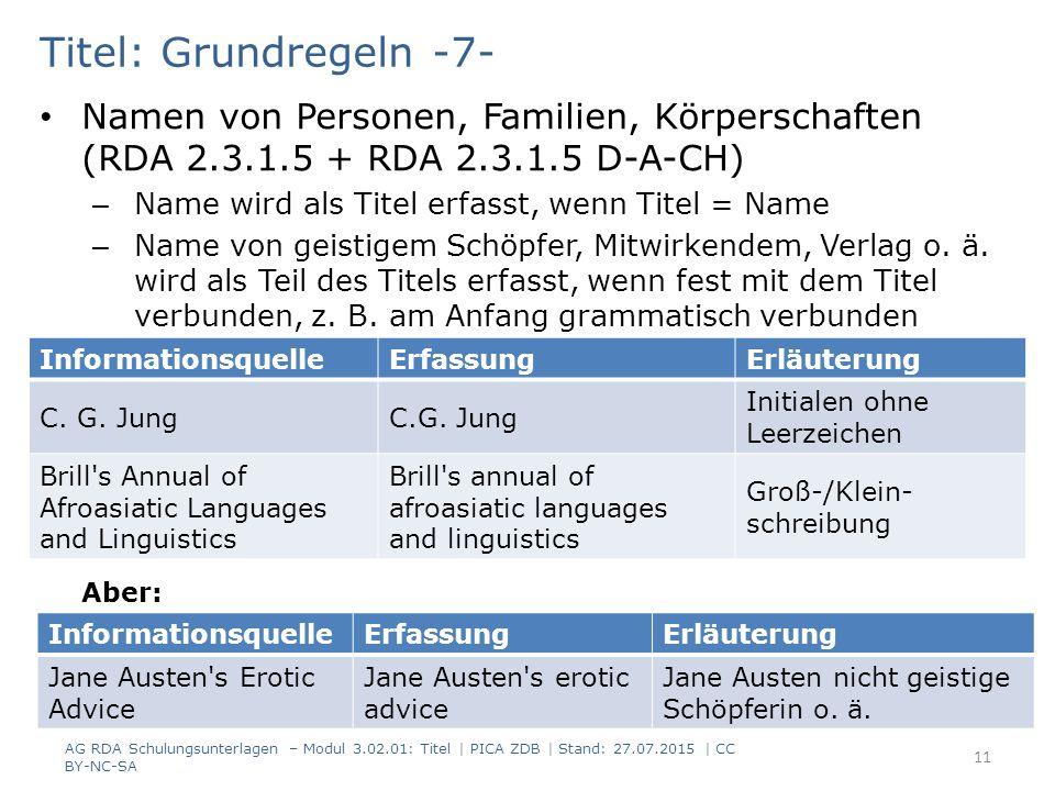 Titel: Grundregeln -7- Namen von Personen, Familien, Körperschaften (RDA 2.3.1.5 + RDA 2.3.1.5 D-A-CH) – Name wird als Titel erfasst, wenn Titel = Name – Name von geistigem Schöpfer, Mitwirkendem, Verlag o.