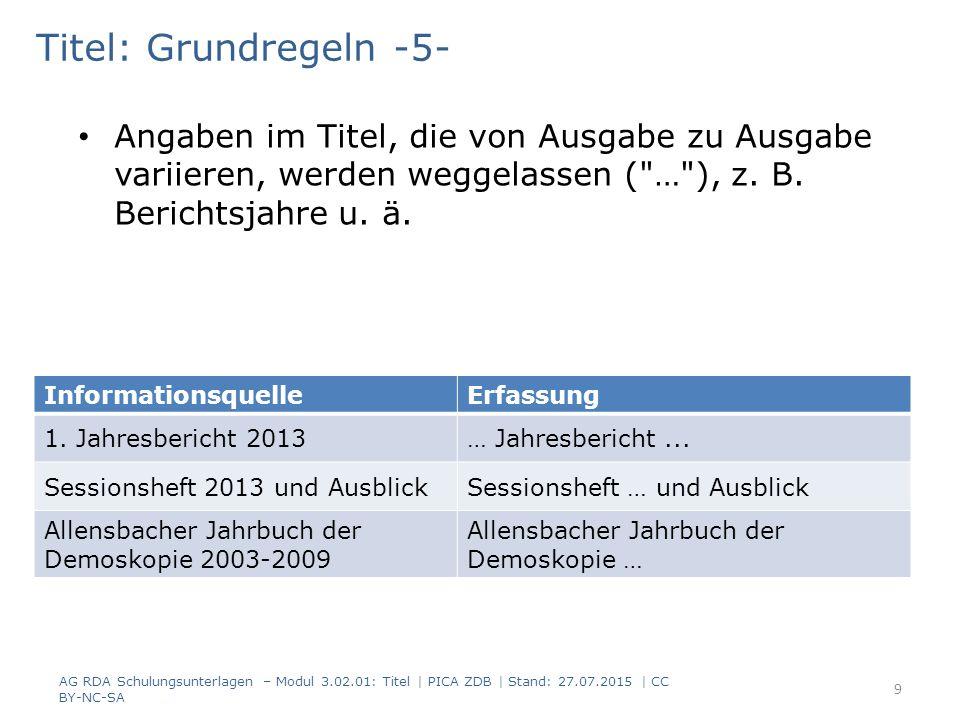 Titel: Grundregeln -5- Angaben im Titel, die von Ausgabe zu Ausgabe variieren, werden weggelassen ( … ), z.