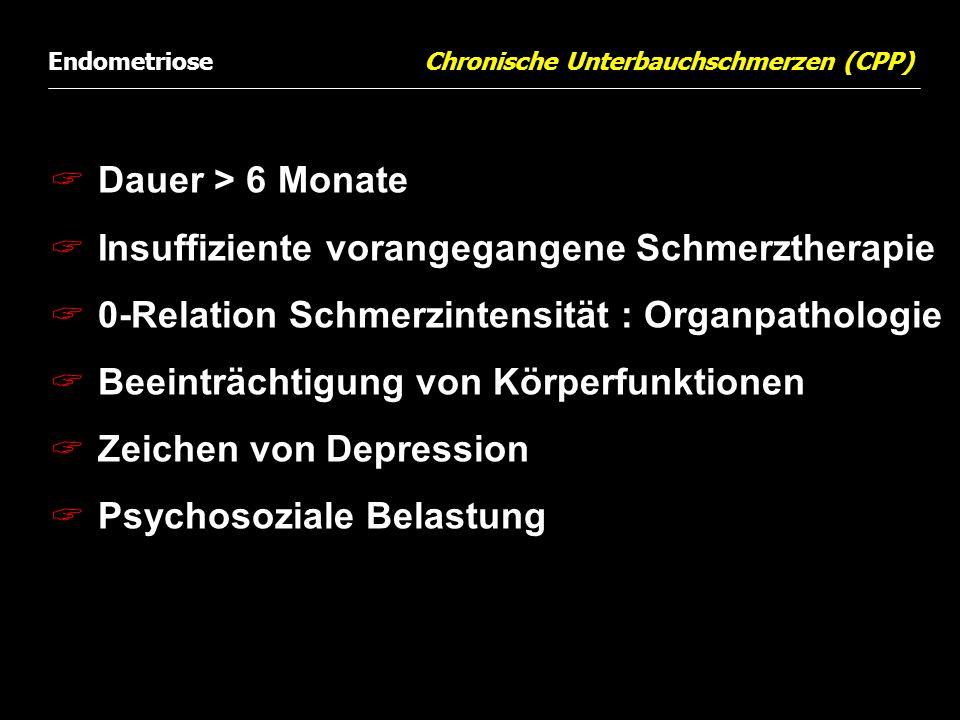  Dauer > 6 Monate  Insuffiziente vorangegangene Schmerztherapie  0-Relation Schmerzintensität : Organpathologie  Beeinträchtigung von Körperfunkti