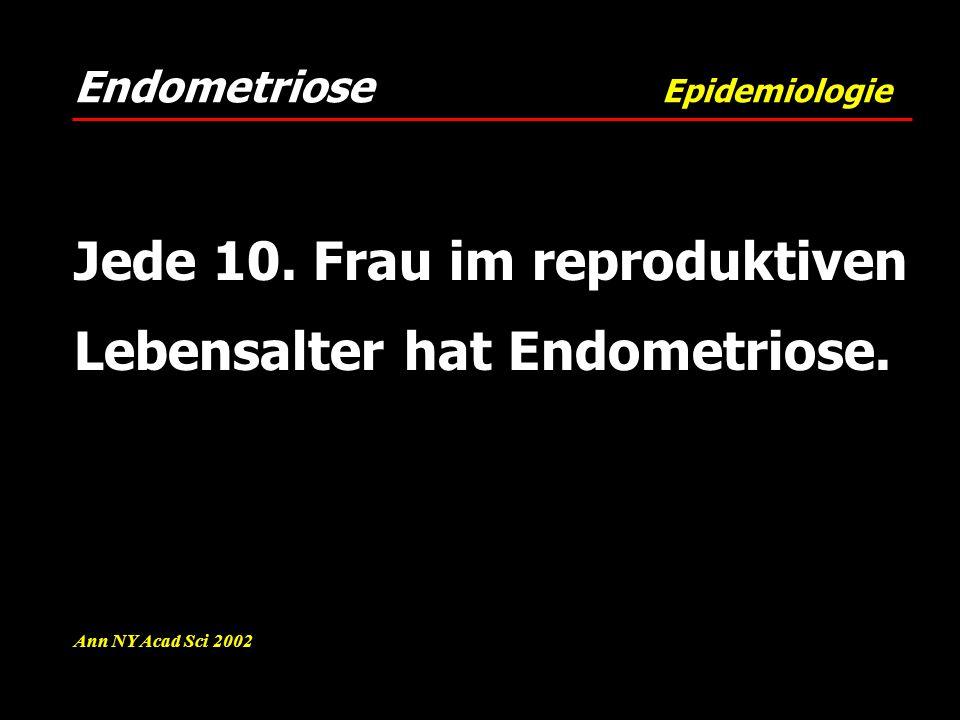 Endometriose Epidemiologie Ann NY Acad Sci 2002 Jede 10. Frau im reproduktiven Lebensalter hat Endometriose.