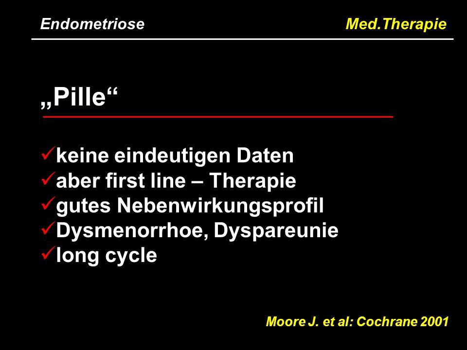 """Endometriose Med.Therapie Moore J. et al: Cochrane 2001 """"Pille"""" keine eindeutigen Daten aber first line – Therapie gutes Nebenwirkungsprofil Dysmenorr"""