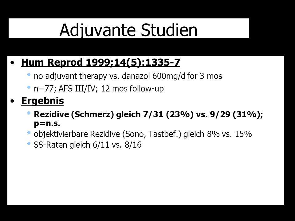 Adjuvante Studien Hum Reprod 1999;14(5):1335-7  no adjuvant therapy vs. danazol 600mg/d for 3 mos  n=77; AFS III/IV; 12 mos follow-up Ergebnis  Rez
