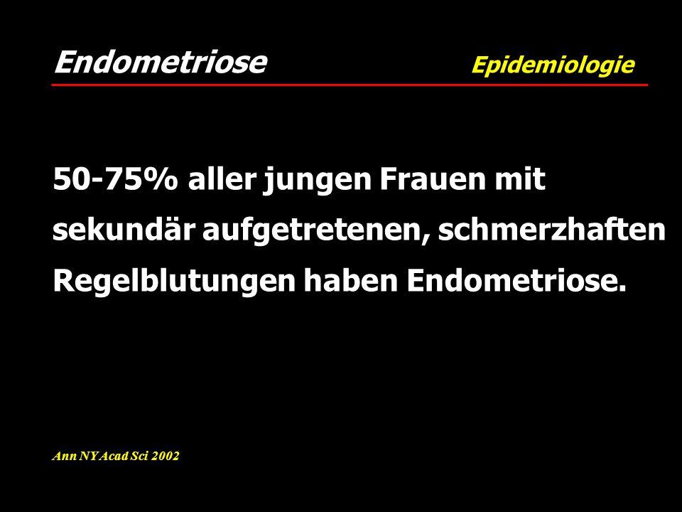 Endometriose Epidemiologie Ann NY Acad Sci 2002 50-75% aller jungen Frauen mit sekundär aufgetretenen, schmerzhaften Regelblutungen haben Endometriose