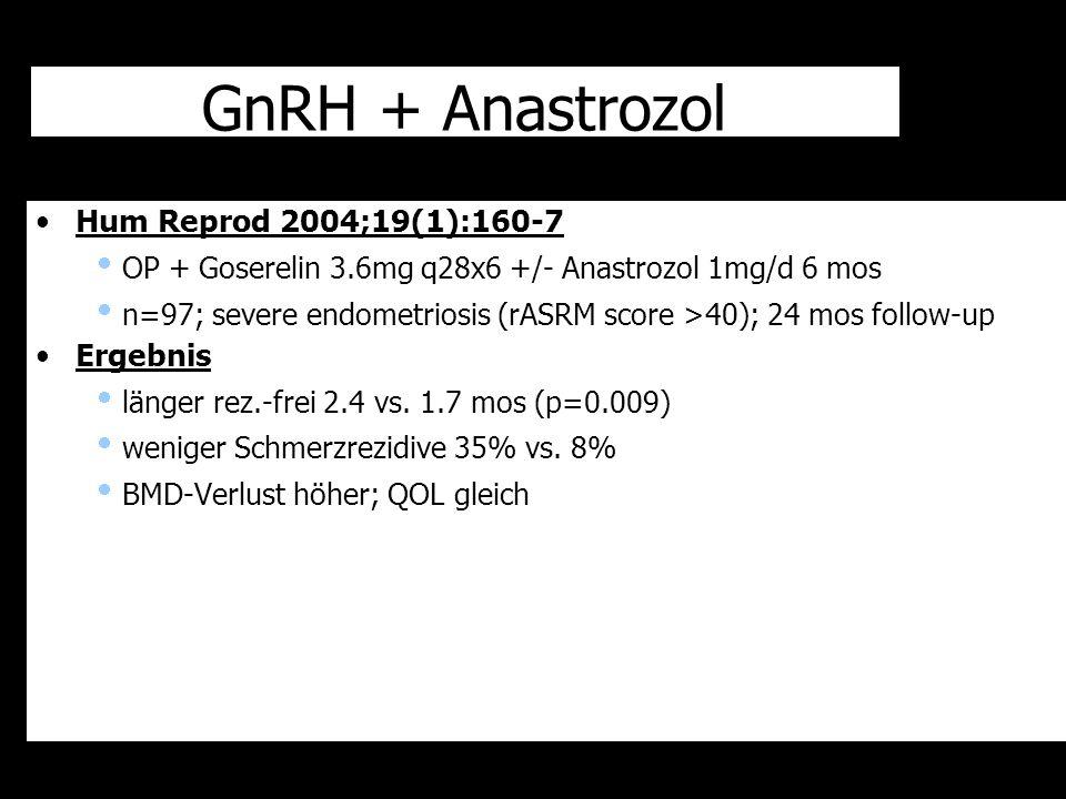 GnRH + Anastrozol Hum Reprod 2004;19(1):160-7  OP + Goserelin 3.6mg q28x6 +/- Anastrozol 1mg/d 6 mos  n=97; severe endometriosis (rASRM score >40);