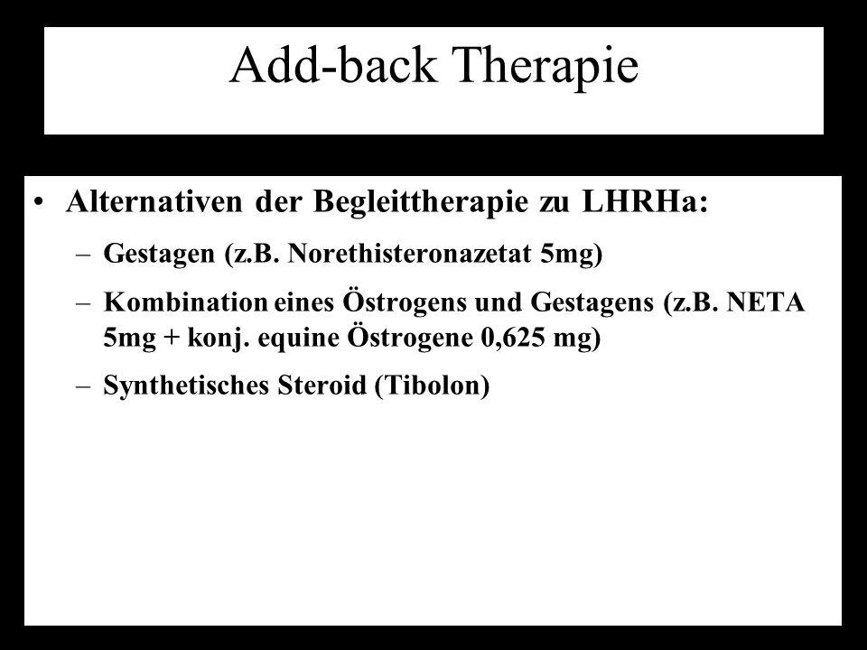Add-back Therapie Alternativen der Begleittherapie zu LHRHa: –Gestagen (z.B. Norethisteronazetat 5mg) –Kombination eines Östrogens und Gestagens (z.B.