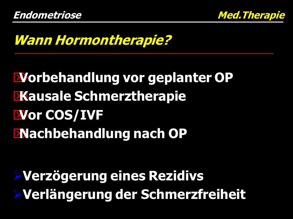 Wann Hormontherapie?  Vorbehandlung vor geplanter OP  Kausale Schmerztherapie  Vor COS/IVF  Nachbehandlung nach OP  Verzögerung eines Rezidivs 