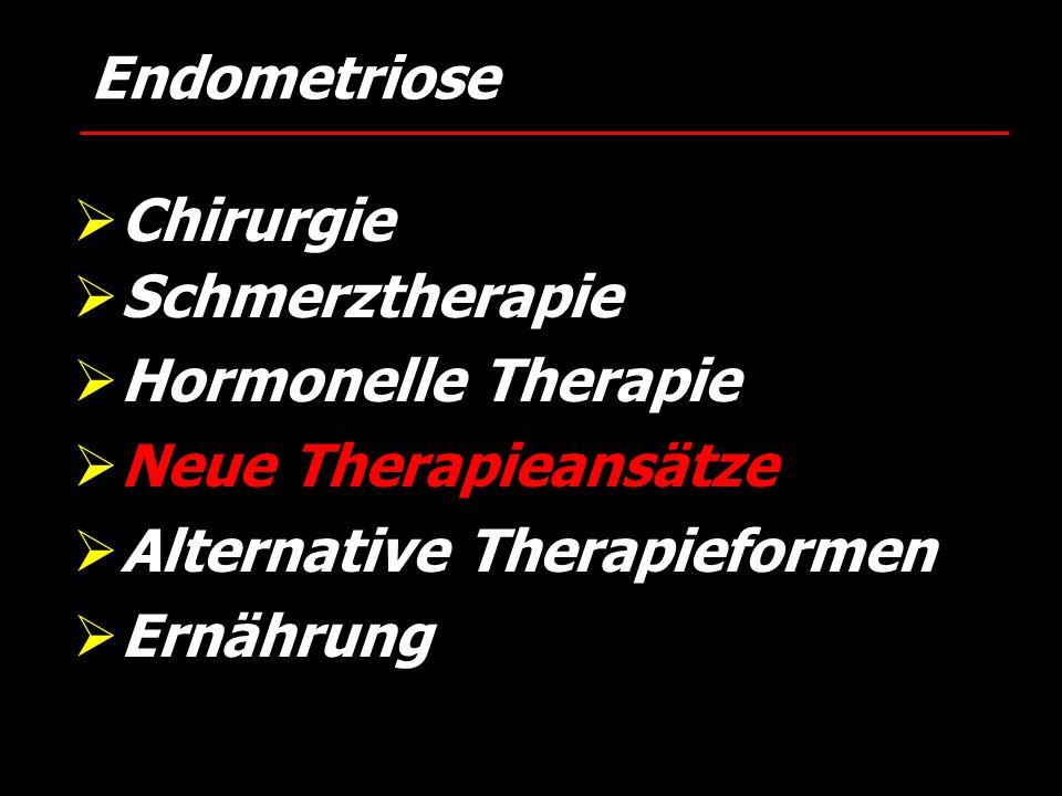  Chirurgie  Schmerztherapie  Hormonelle Therapie  Neue Therapieansätze  Alternative Therapieformen  Ernährung Endometriose
