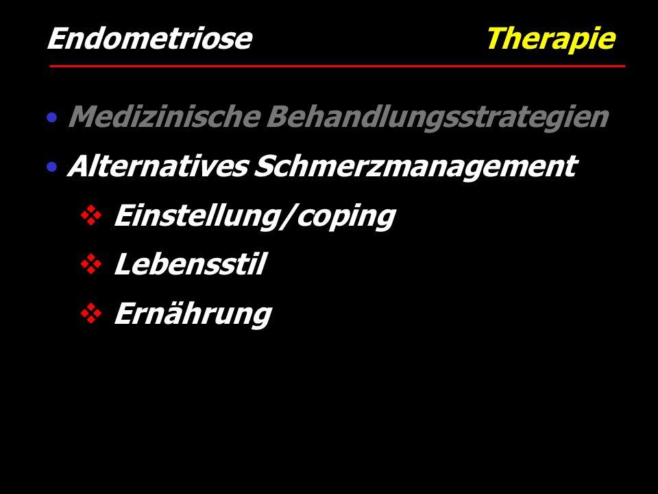 Endometriose Therapie Medizinische Behandlungsstrategien Alternatives Schmerzmanagement  Einstellung/coping  Lebensstil  Ernährung