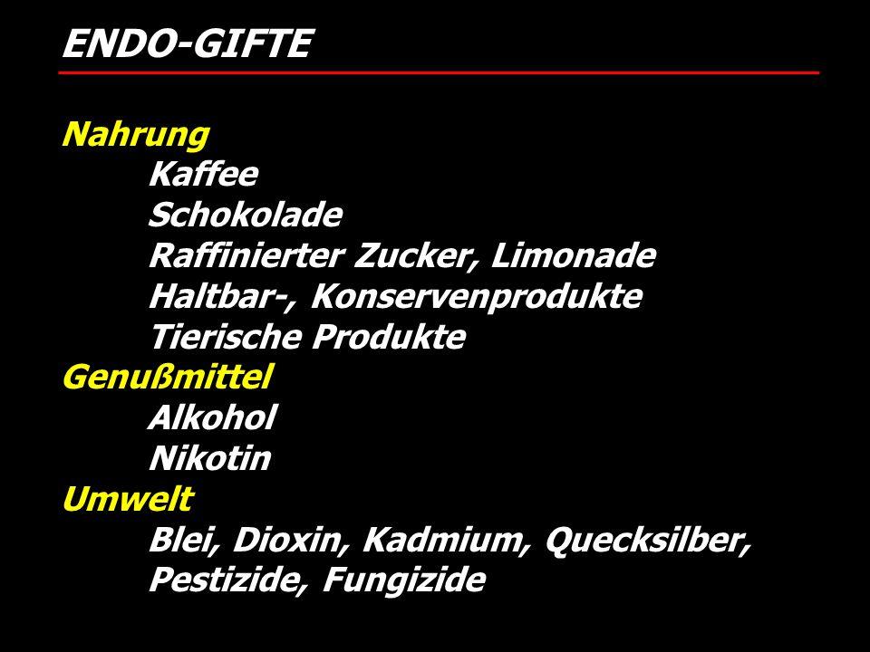 ENDO-GIFTE Nahrung Kaffee Schokolade Raffinierter Zucker, Limonade Haltbar-, Konservenprodukte Tierische Produkte Genußmittel Alkohol Nikotin Umwelt B