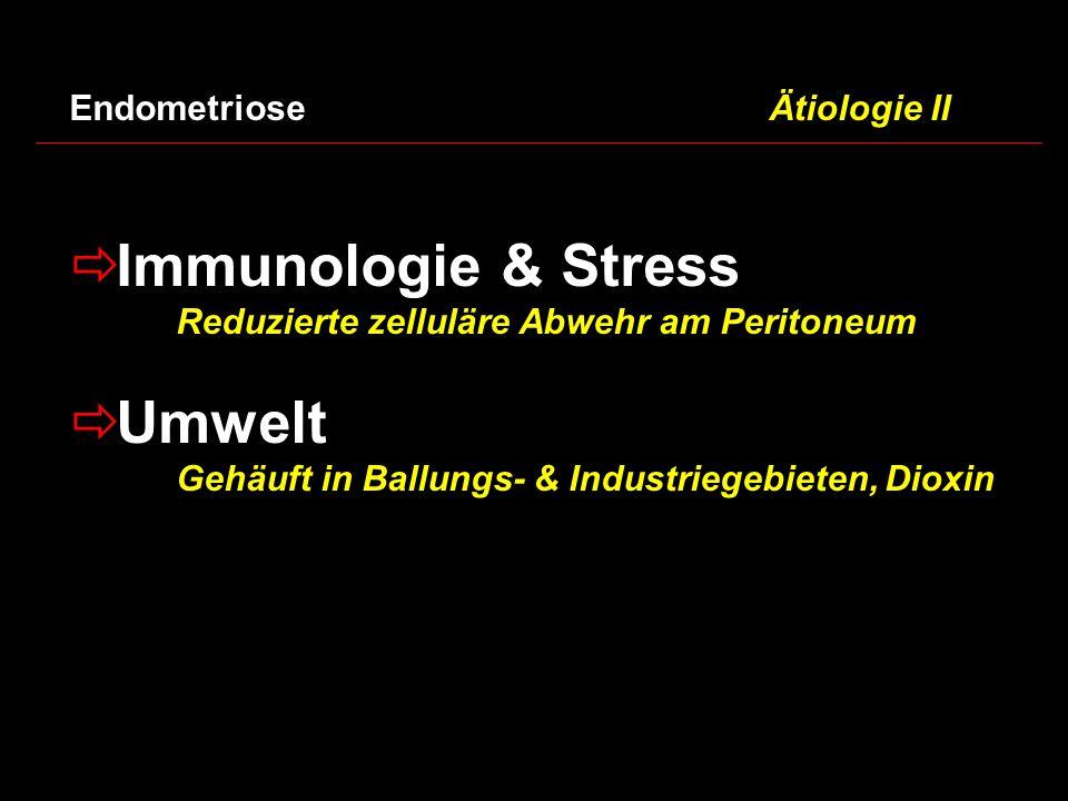  Immunologie & Stress Reduzierte zelluläre Abwehr am Peritoneum  Umwelt Gehäuft in Ballungs- & Industriegebieten, Dioxin Endometriose Ätiologie II