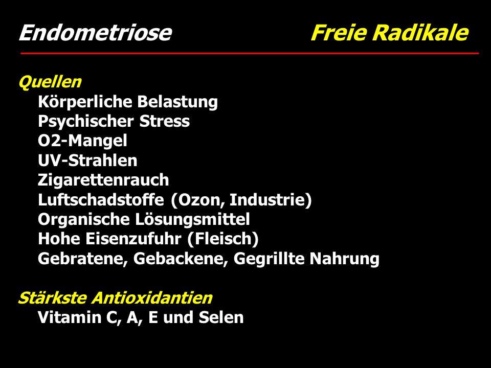 Endometriose Freie Radikale Quellen Körperliche Belastung Psychischer Stress O2-Mangel UV-Strahlen Zigarettenrauch Luftschadstoffe (Ozon, Industrie) O
